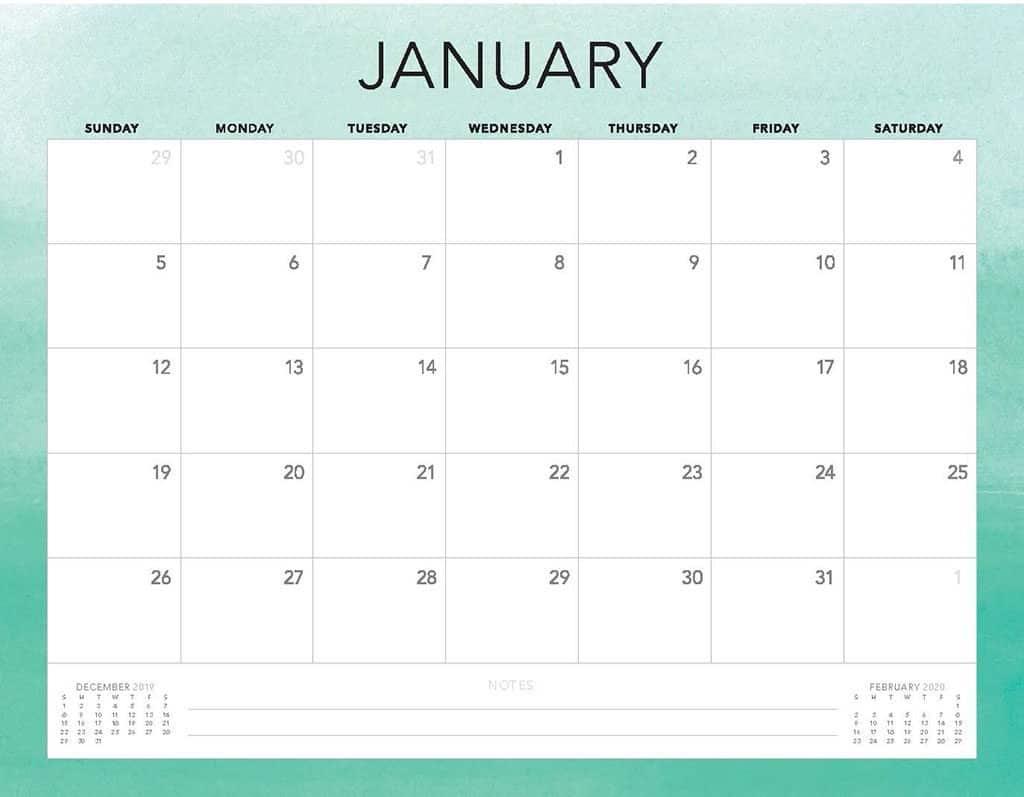 green ombre 2020 free calendar