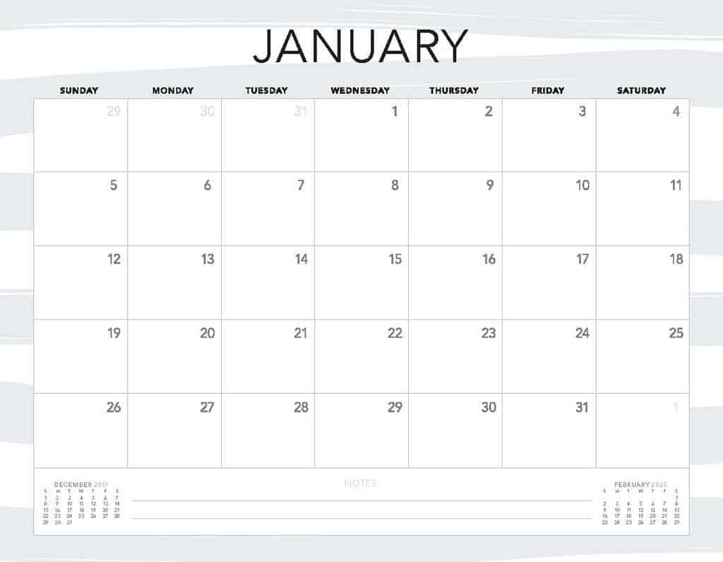 grey stripes 2020 free calendar