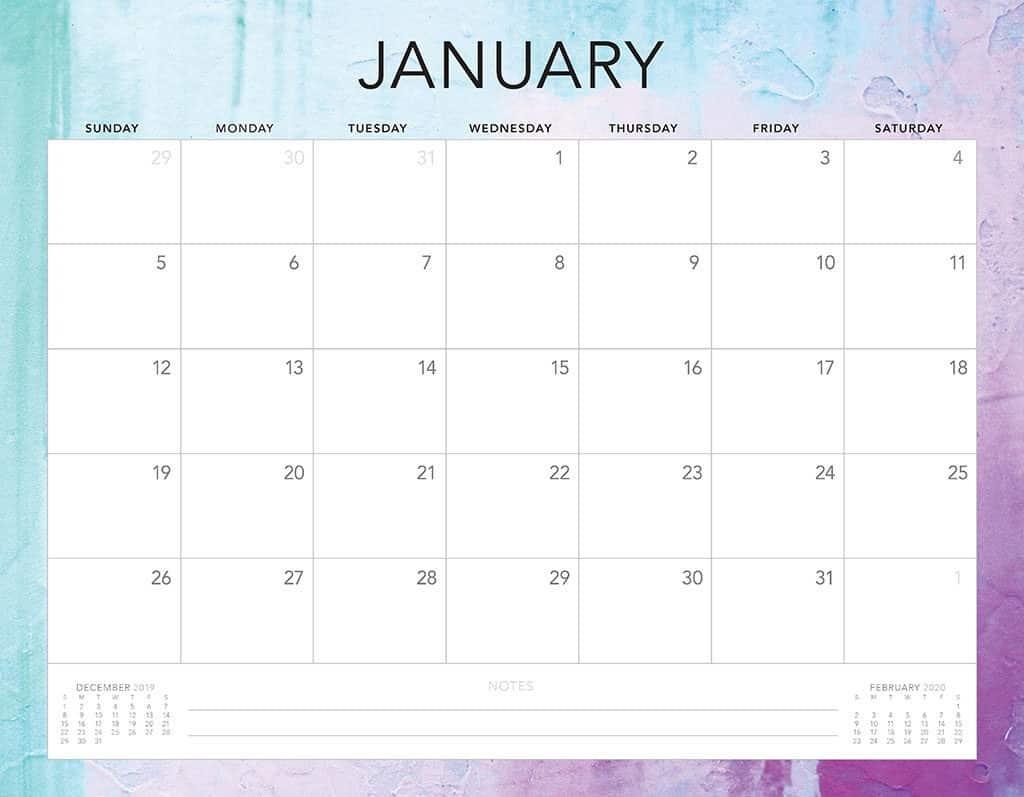 blue and purple 2020 free calendar