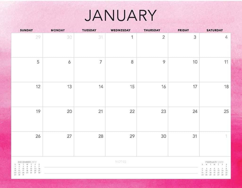 hot pink ombre 2020 free calendar