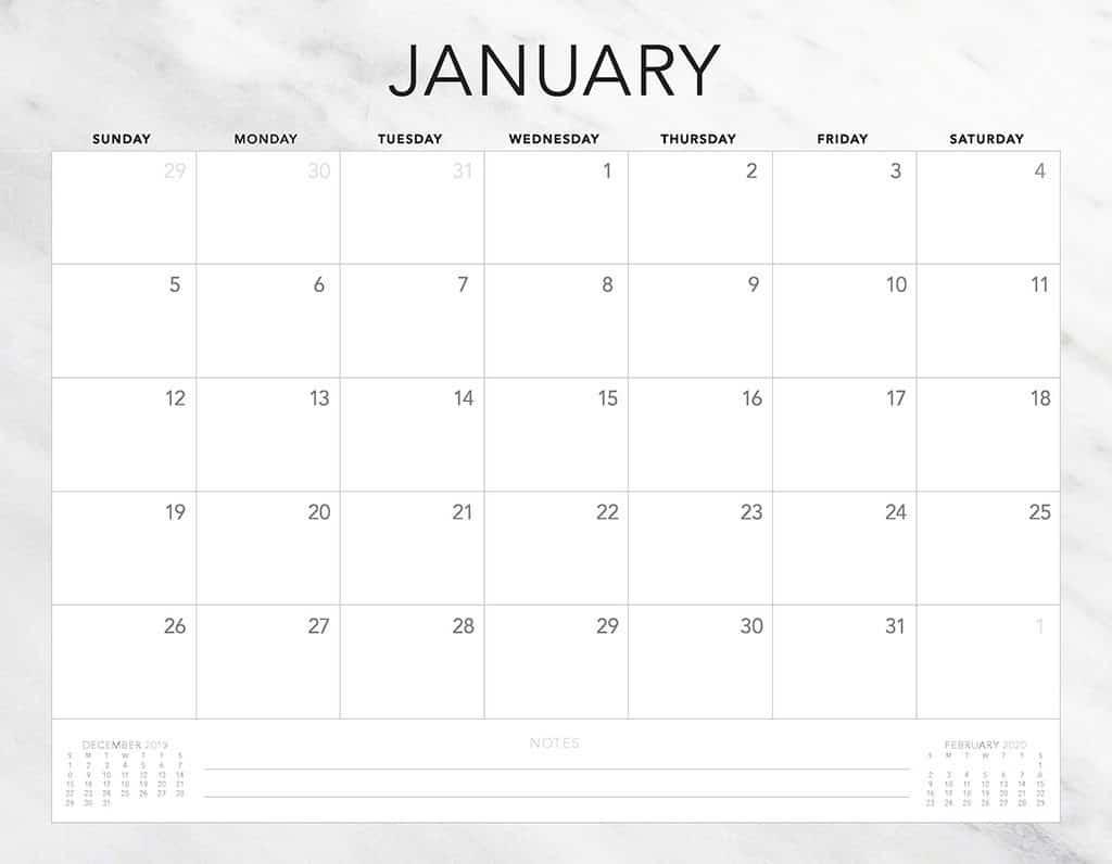 marble 2020 free calendar
