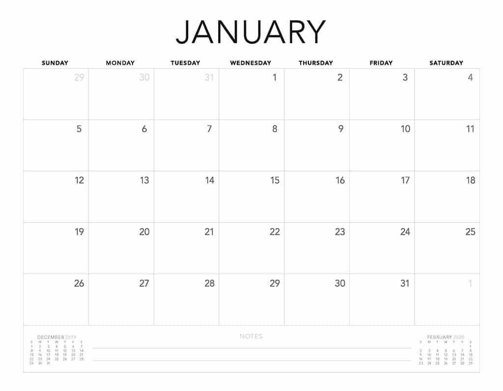 simple 2020 free calendar minimal