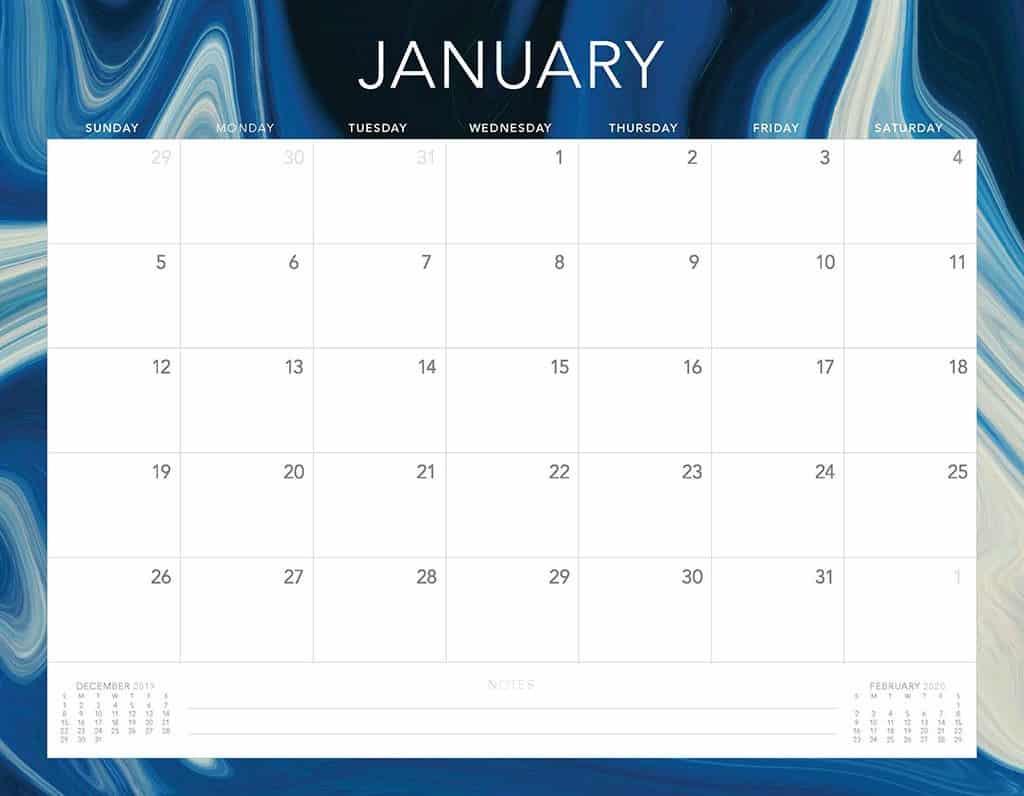 blue swirls 2020 free calendar