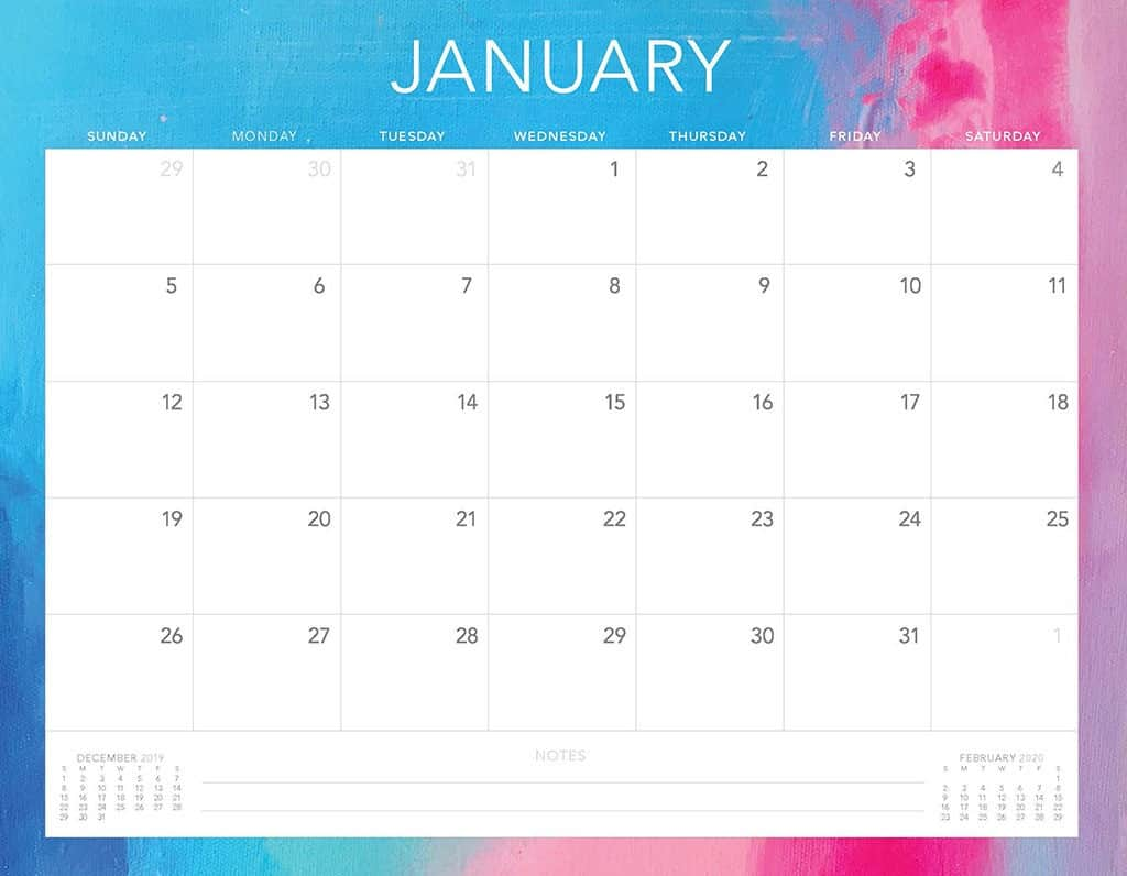 pink and blue 2020 free calendar