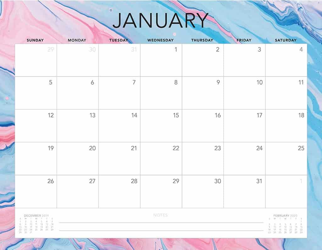 blue and pink 2020 free calendar