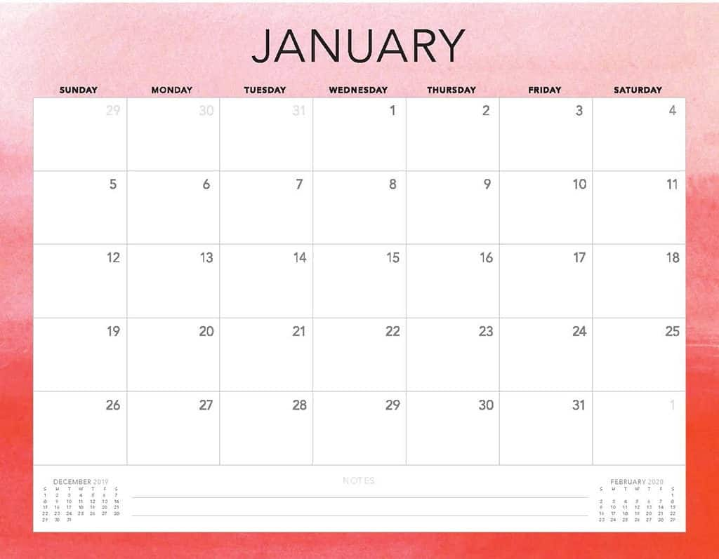 pink ombre 2020 free calendar