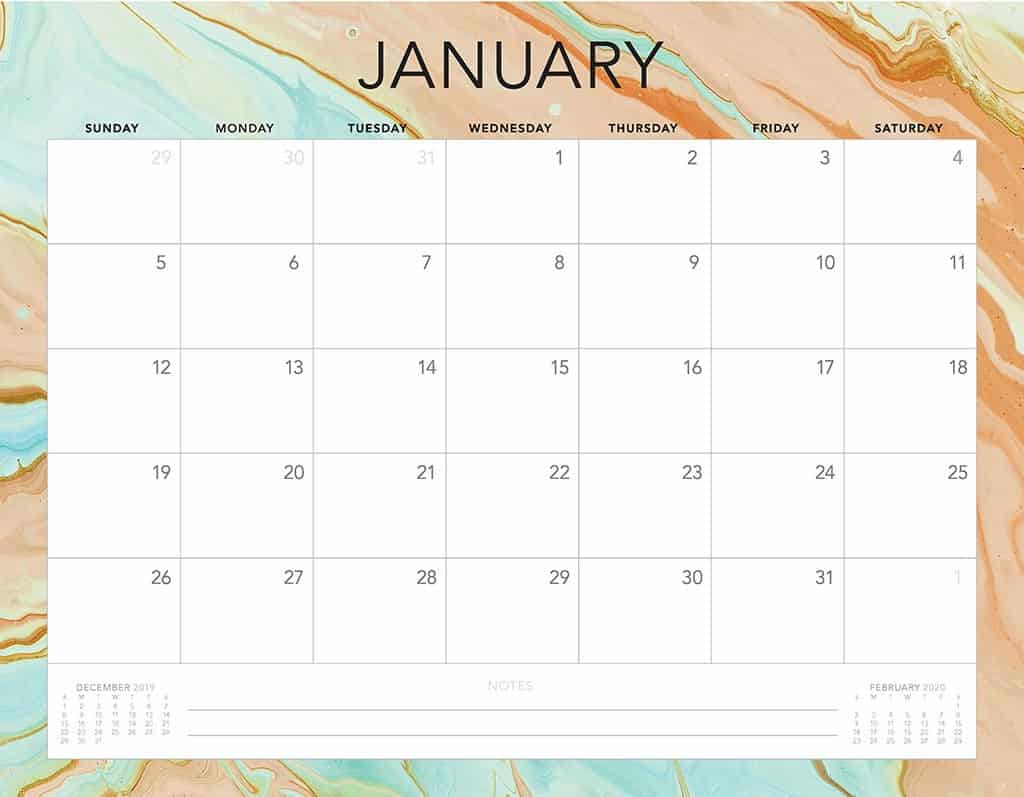 aqua and rust 2020 free calendar