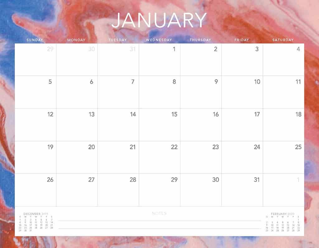 pink and purple paint 2020 free calendar