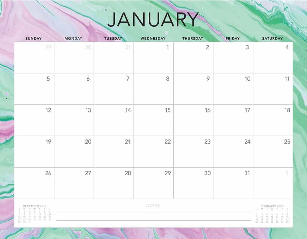paint swirl 2020 free calendar