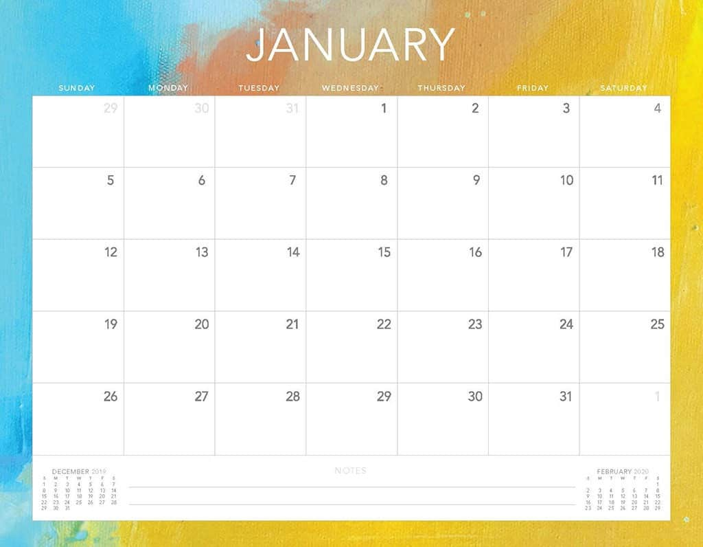 blue and yellow 2020 free calendar
