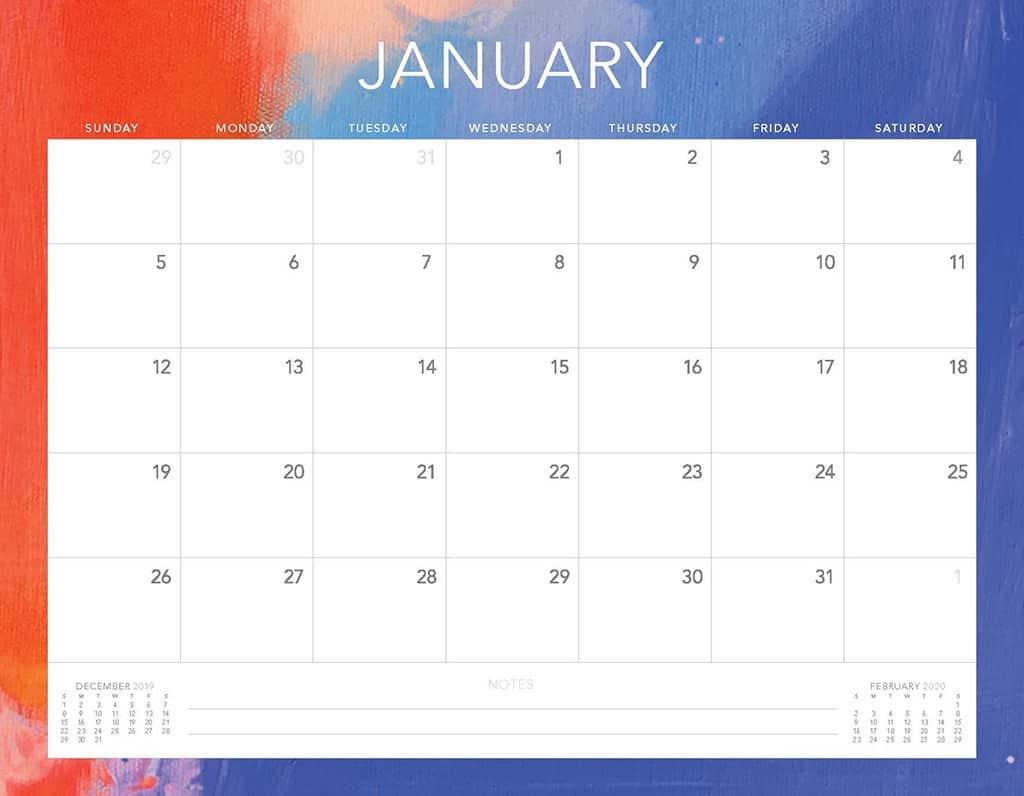 purple and orange 2020 free calendar