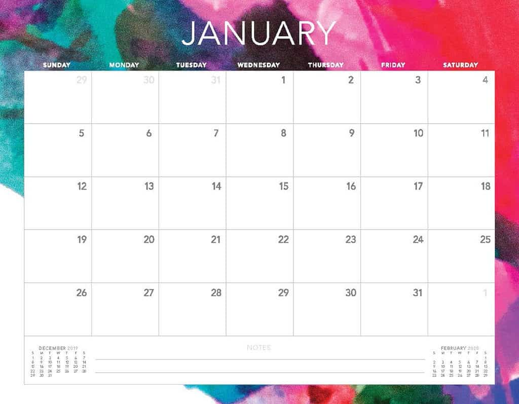 abstract colors 2020 free calendar