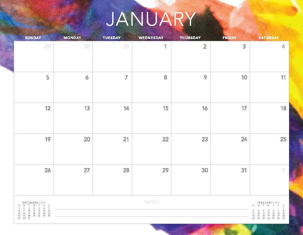 abstract 2020 free calendar