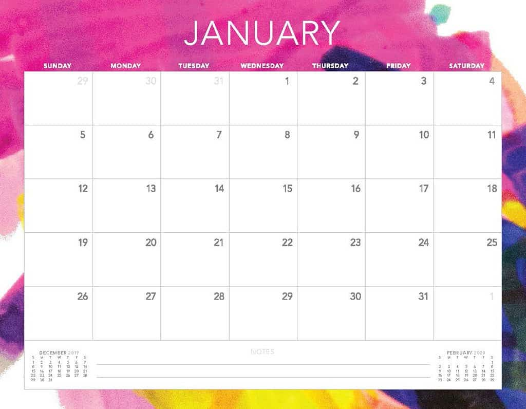 abstract colorful 2020 free calendar