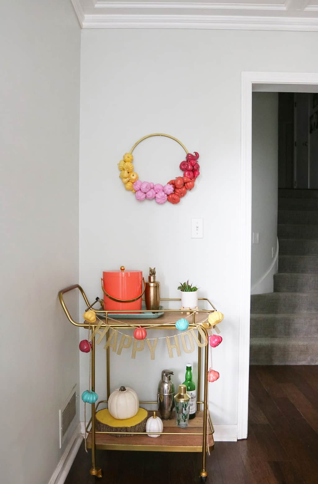 DIY pumpkin wreath and banner — I highly recommend them as a fun and affordable way to add some color and personality to your fall decor!