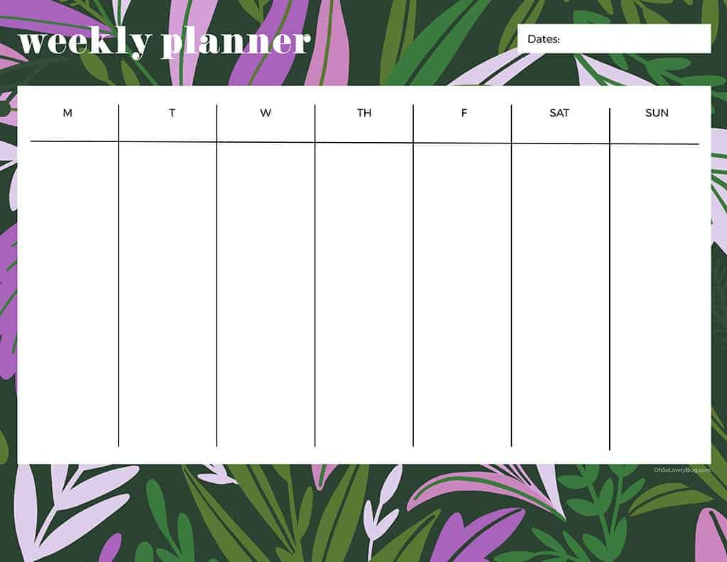 21 cute and FREE printable weekly calendars