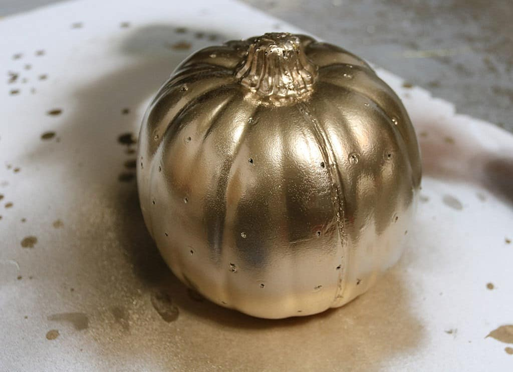 metallic gold drill hole faux pumpkin