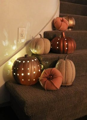 DIY luminary pumpkins add a glow to your fall decor!