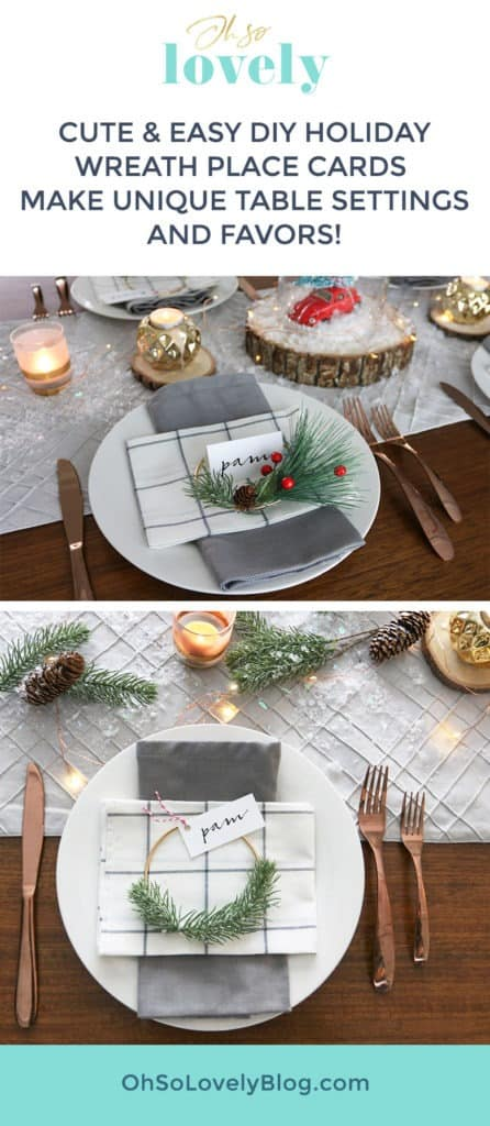 These easy DIY holiday mini wreath place cards make the easiest and most unique place settings for any holiday. Bonus: Your guests can take them home as favors!