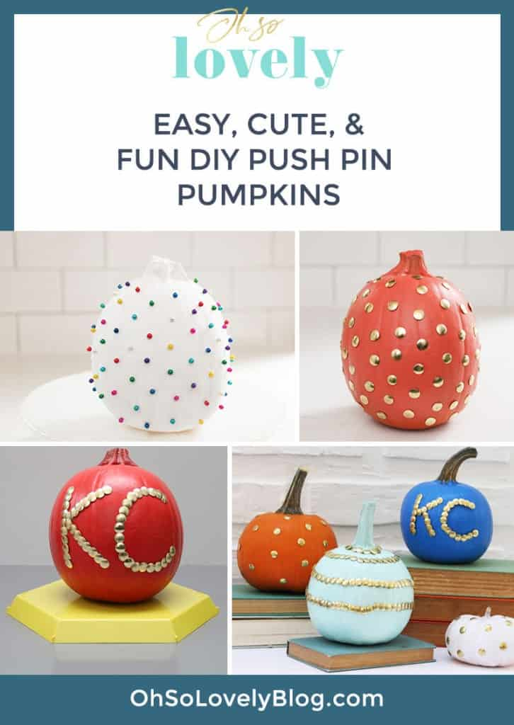 DIY thumb tack pumpkins — oh my gourd these are fun! It's easy to take a plain pumpkin and pump it up with some push pins. These make the cutest fall decor!