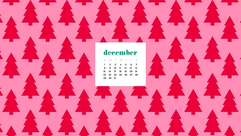free December wallpaper calendars — red and pink trees