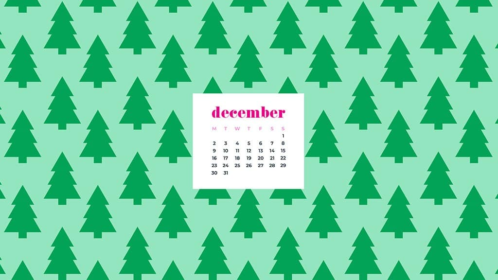 free December wallpaper calendars — green trees