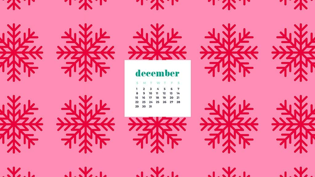 free December wallpaper calendars — red and pink snowflakes