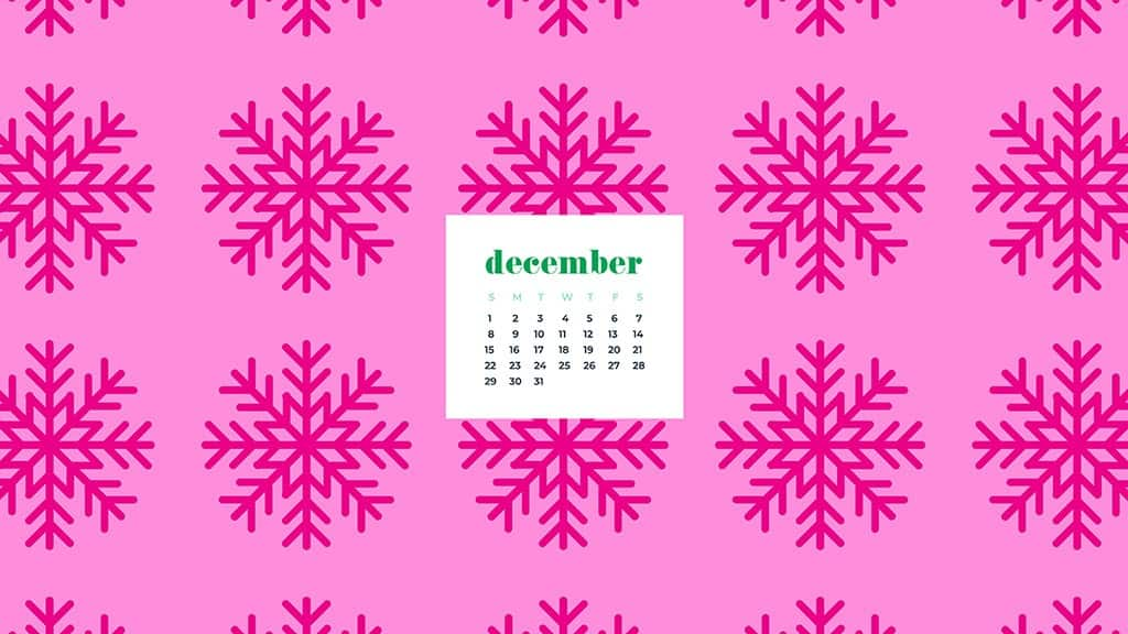 free December wallpaper calendars — pink snowflakes