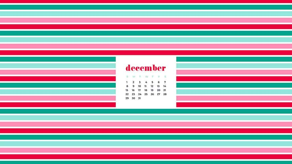 free December wallpaper calendars — colorful stripes