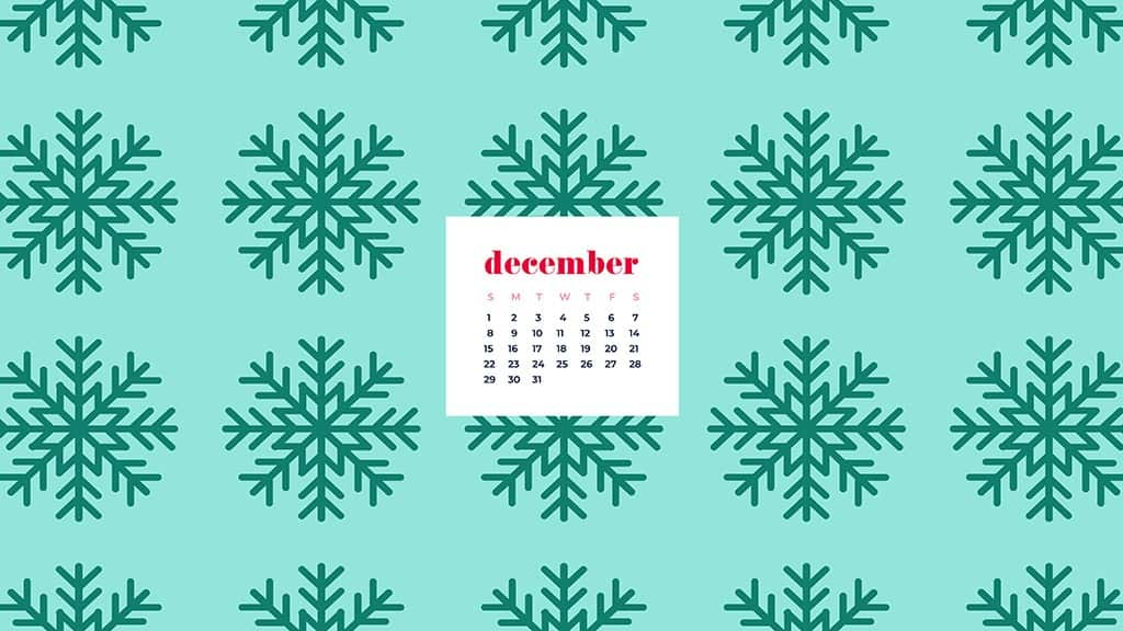 free December wallpaper calendars — green snowflakes