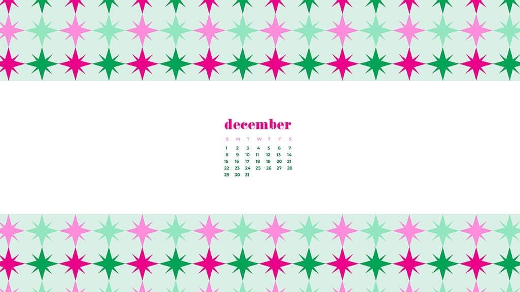 free December wallpaper calendars — modern