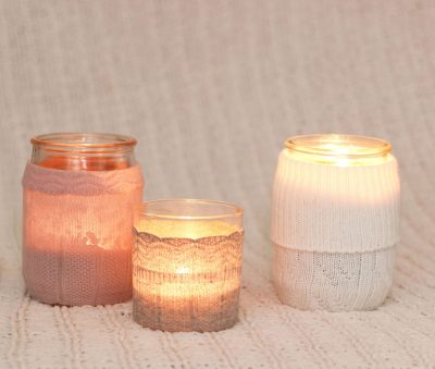 DIY candle sweaters