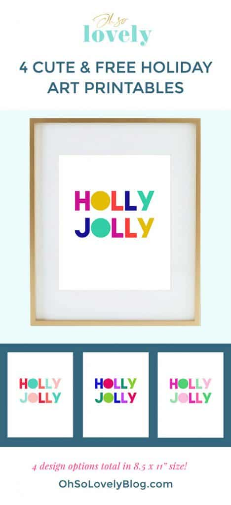 Free holly jolly art printables