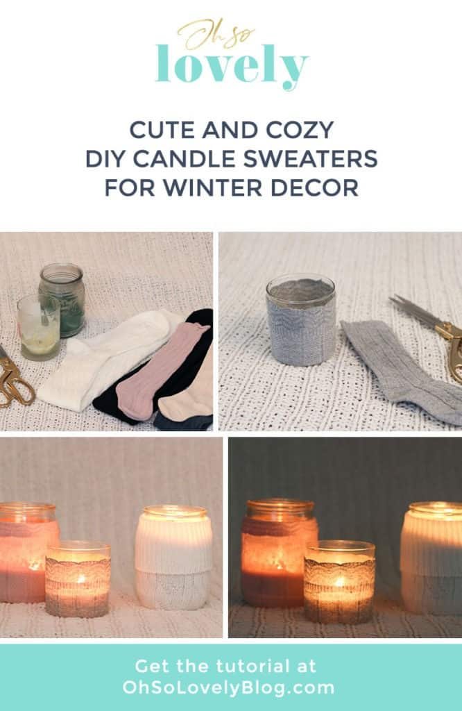 DIY candle sweaters are the cutest! Learn how to easily transform sweater socks into the coziest sweaters for your candles — instant winter mood!