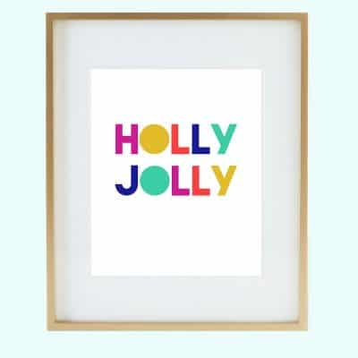 Colorful holly jolly art in frame