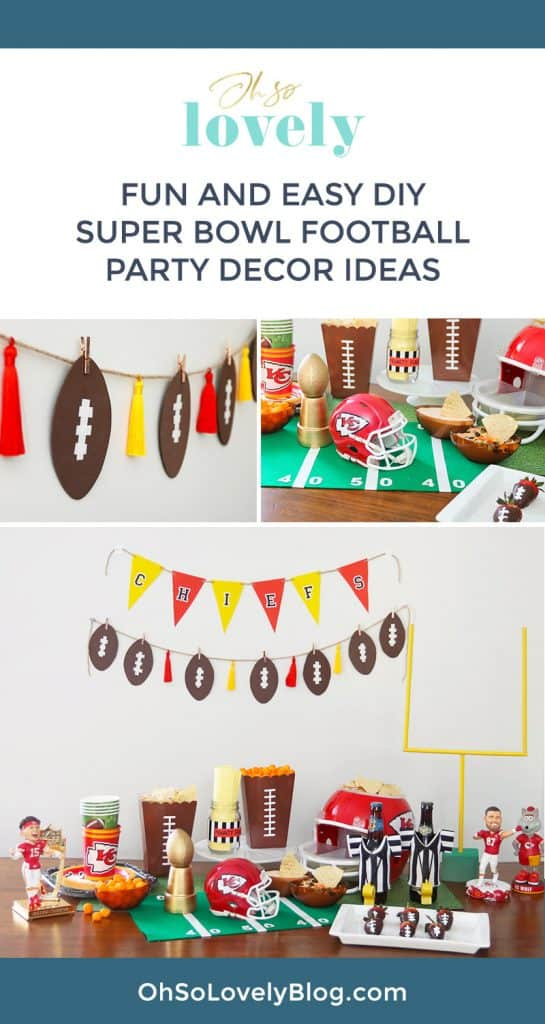 DIY Super Bowl party decor ideas and football sports memorabilia for your event — easy, fun and festive — Let's go Kansas City Chiefs!