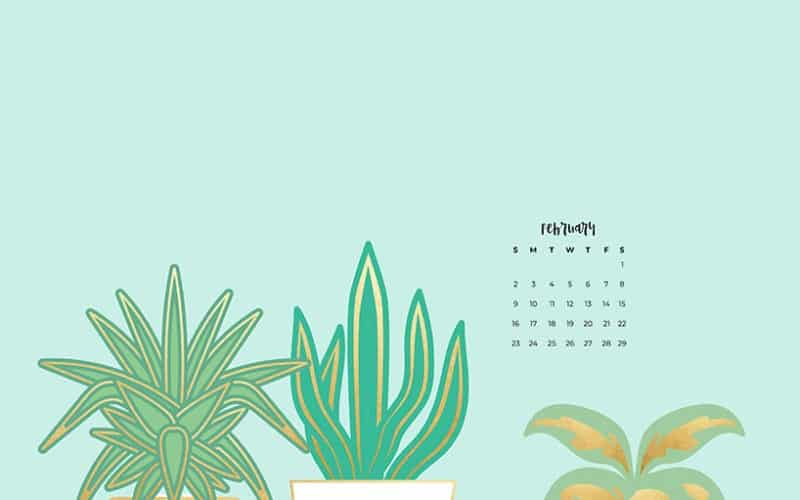 FREE February 2020 wallpapers turquoise plant ladies