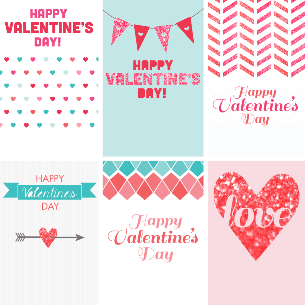 Free Valentine's Day printables! 5 cute designs to choose from – unicorns, robots, glittery designs, and many more. Happy Valentine's Day!