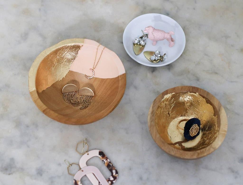 DIY gold leaf dished for jewelry organization