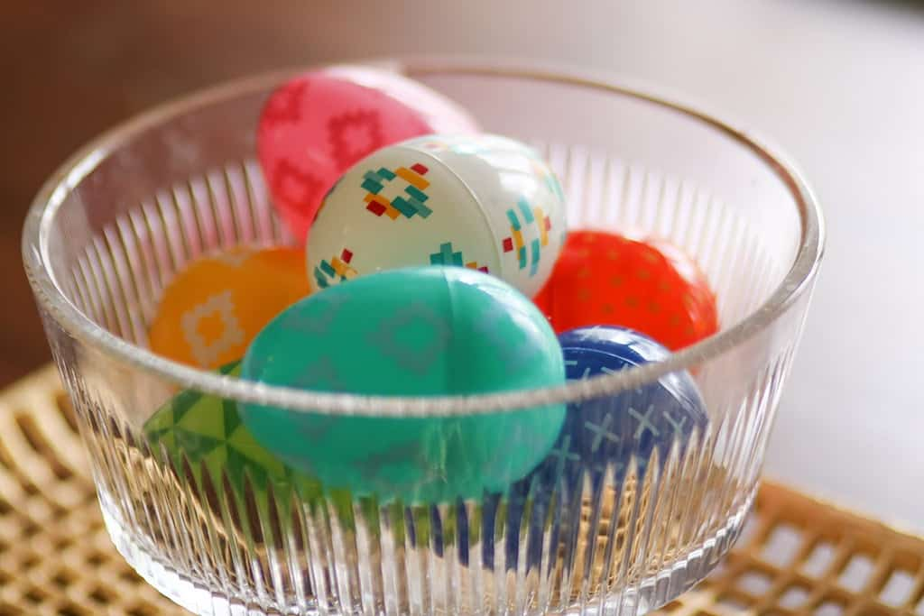 spring home tour colorful easter eggs in a crystal bowl