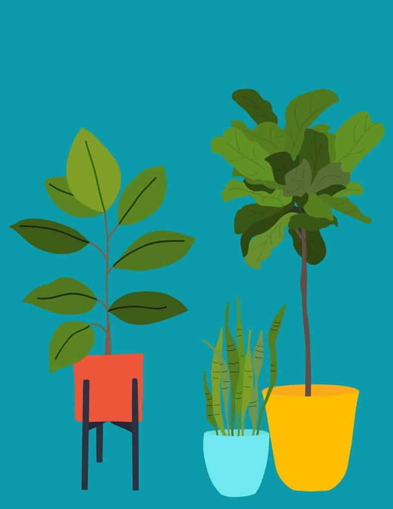 free modern plant printables turquoise