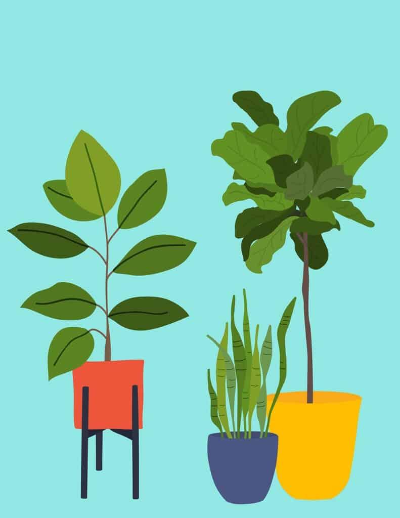 free modern plant printables aqua