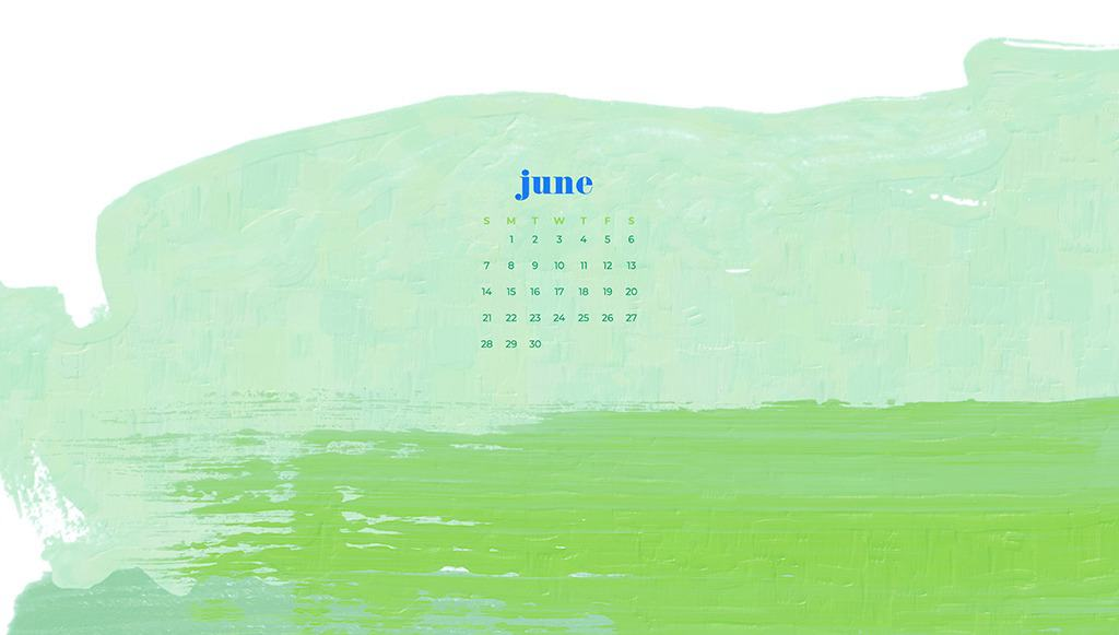 Free June wallpapers — green abstract paint