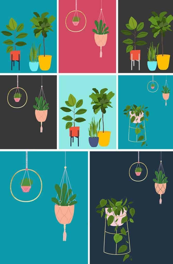 Free modern plant printables