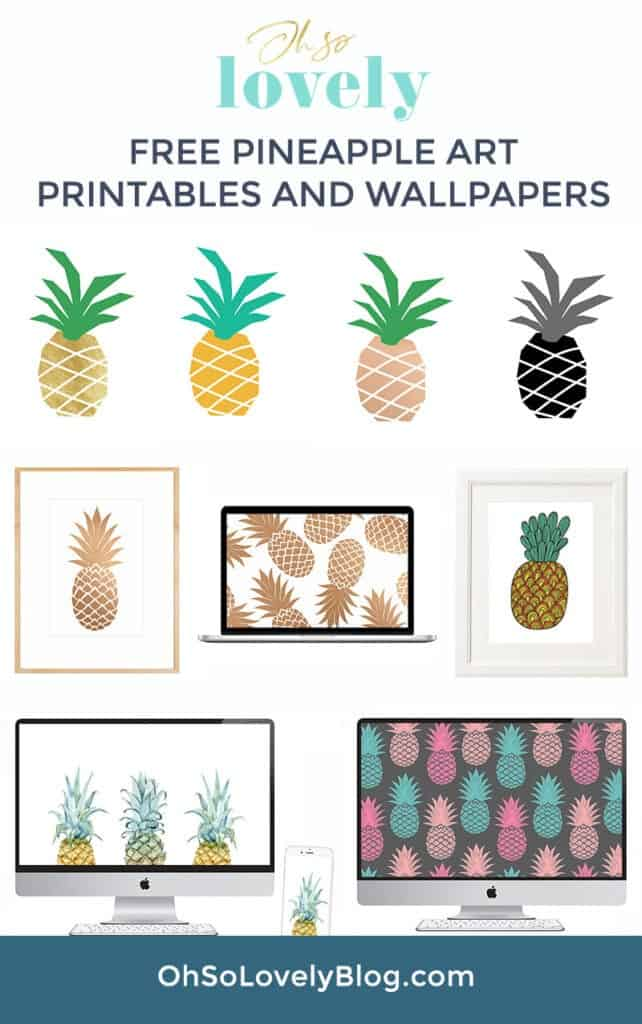 4 free pineapple printables for the pineapple lovers out there (AND MORE)! Simply print, frame, and hang for an affordable and easy seasonal update!