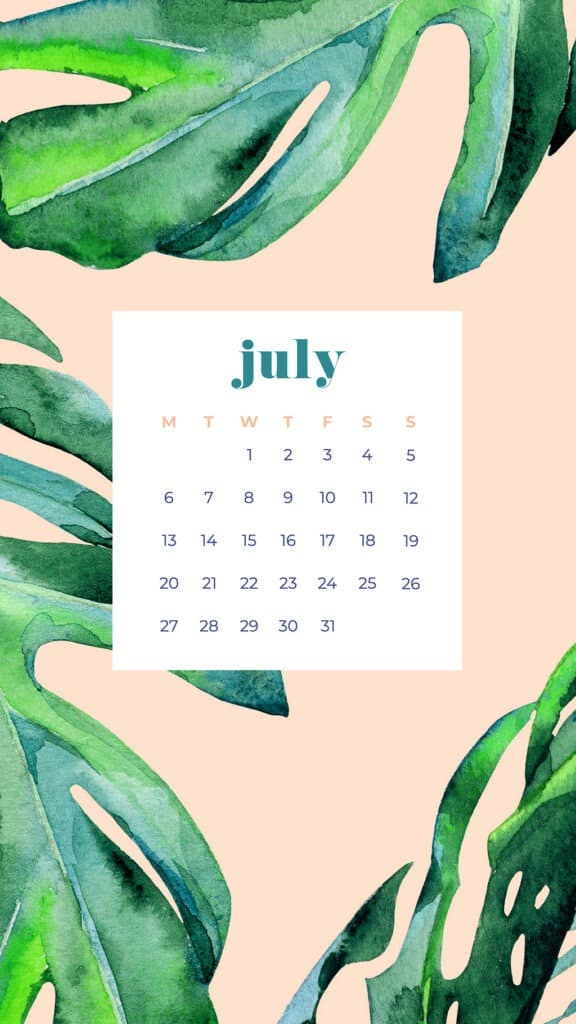Free July wallpapers palm leaves and peach