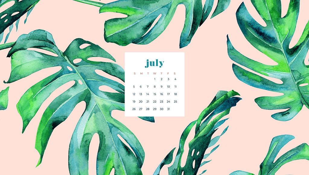 Free July wallpapers peach and palm leaf