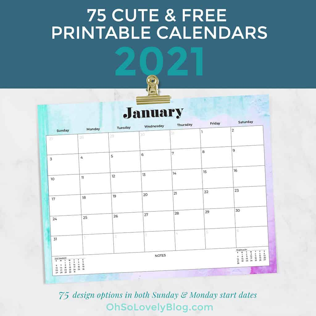 Free 2021 calendars — 75 beautifully designed January through December options in both Sunday and Monday starts. Download yours today!