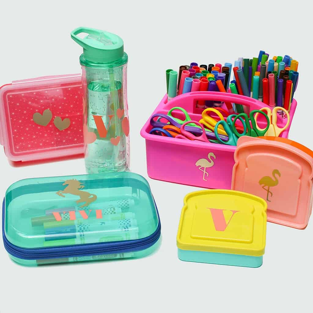back to school supplies personalized with a Cricut Joy