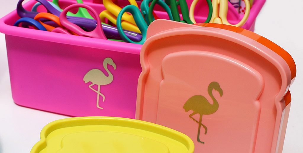 Cricut Gold foil flamingos back to school